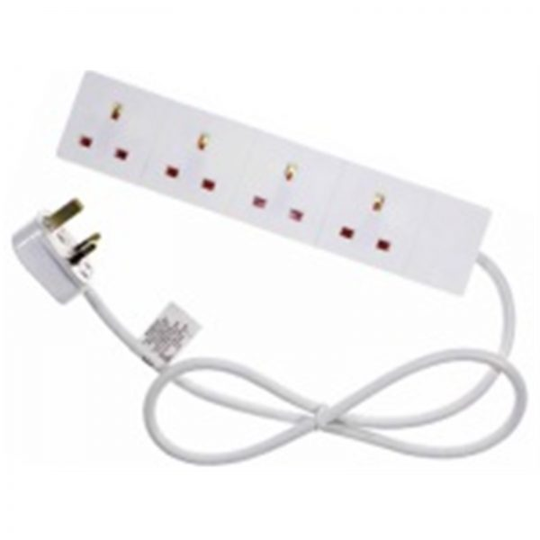 4 Gang White Power Extension 2m Cable