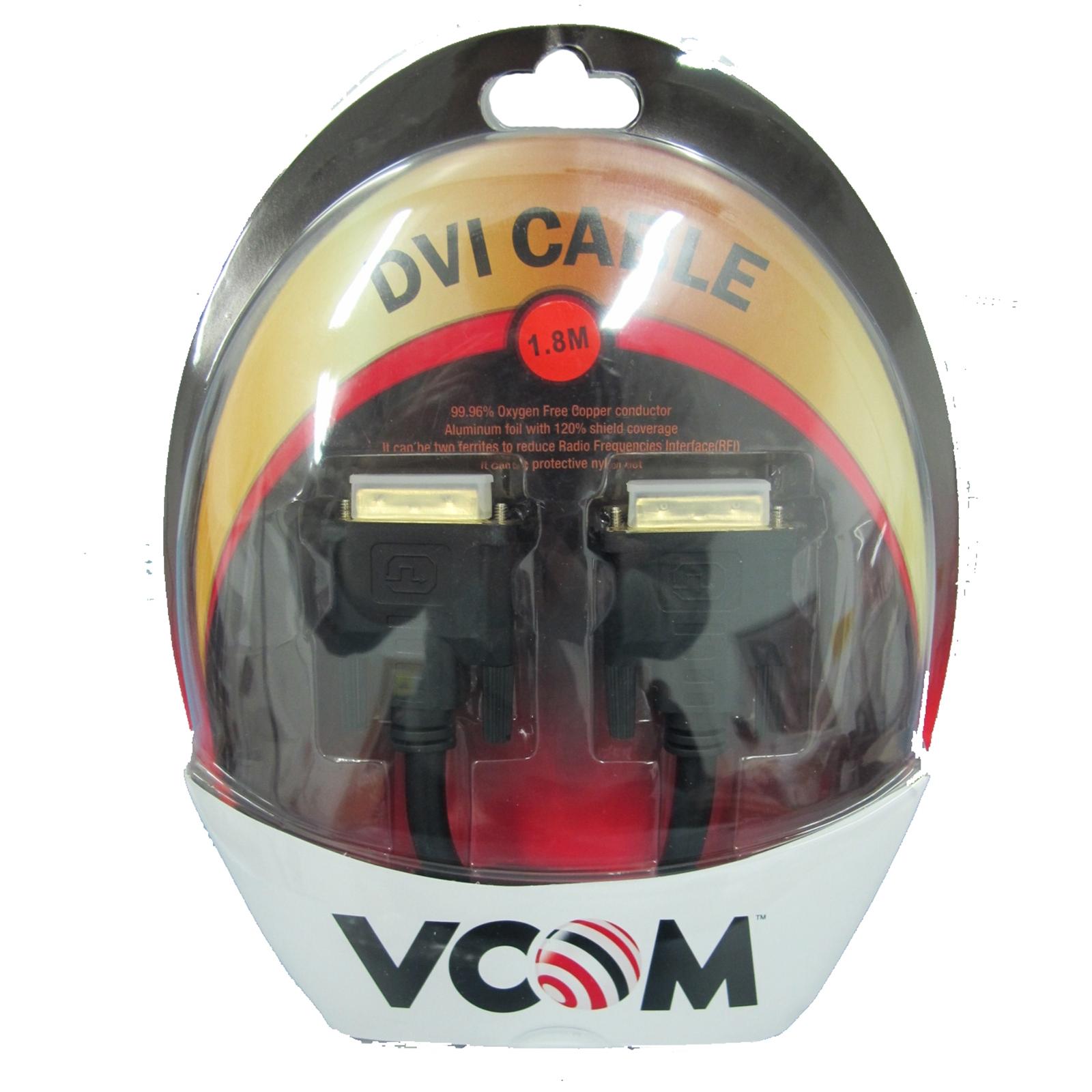 VCOM DVI-D (M) to DVI-D (M) 1.8m Black Retail Packaged Display Cable