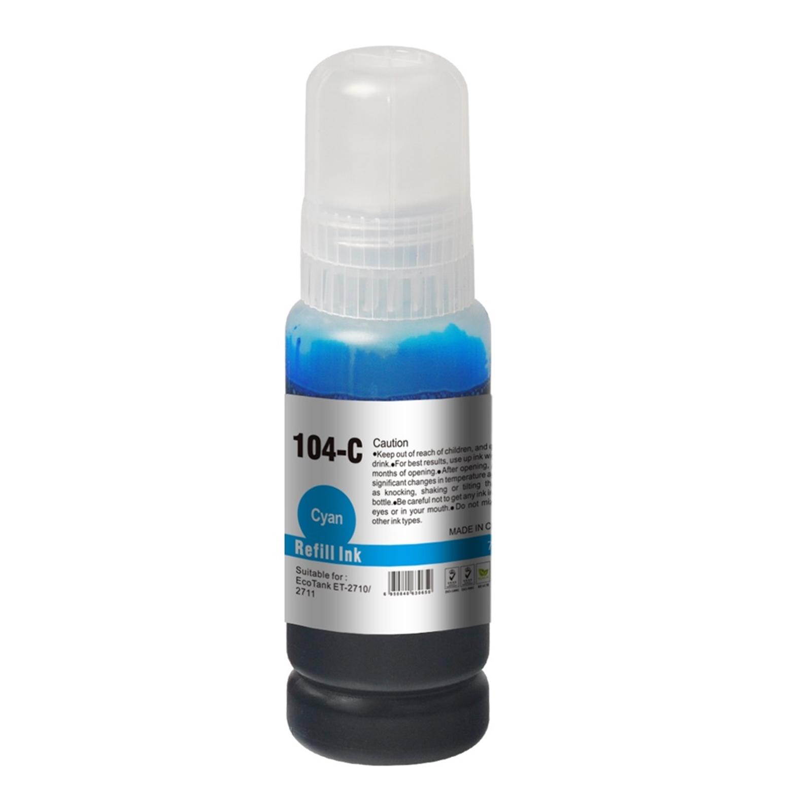 InkLab 104 Epson Compatible EcoTank Cyan ink bottle