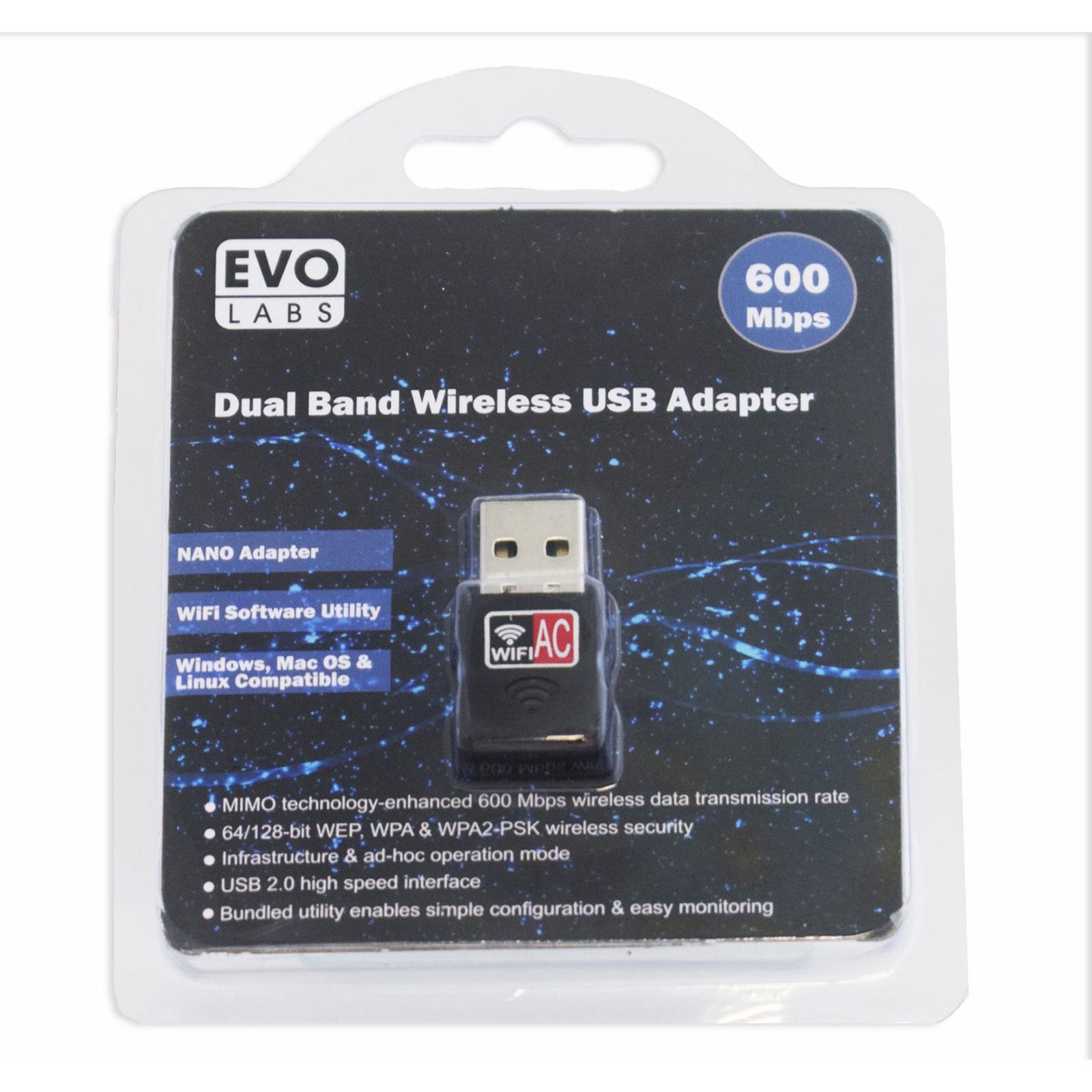 Evo Labs AC600 Dual Band USB WiFi Network Adapter