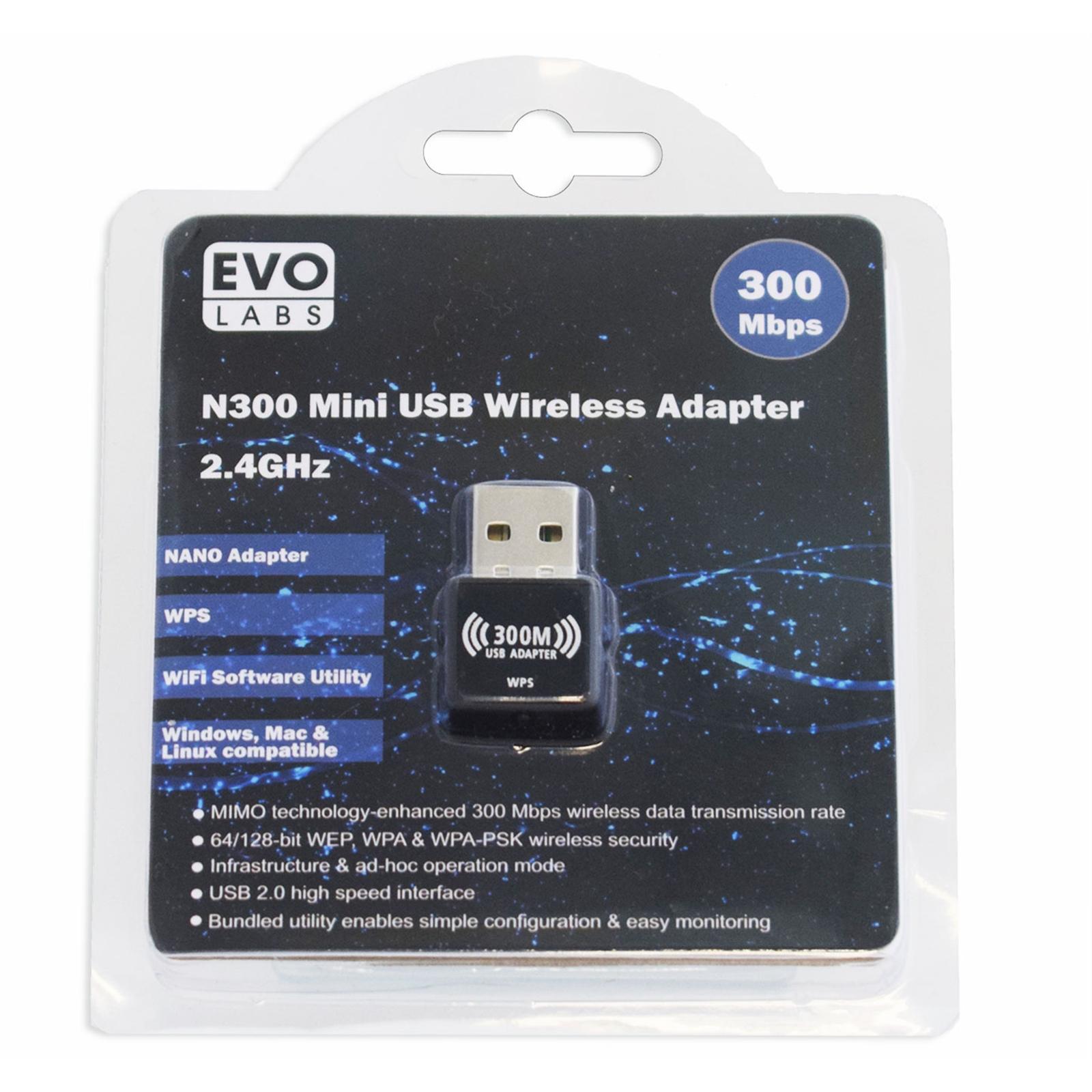 Evo Labs N300 Wireless N Mini USB Wi-Fi Network Adapter